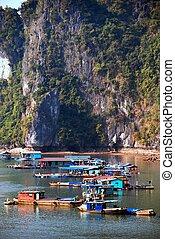 Floating Village, Vietnam - Floating Village, Ha Long Bay,...