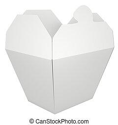 Chinese takeout box - White blank takeout food container. 3D...