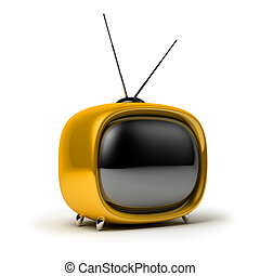 retro TV - Yellow a retro the TV 3d image Isolated white...