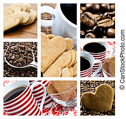 Collage of coffee and heart shaped biscuites