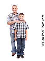 Father and son isolated on white - Father and son standing...