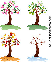 apple trees - vector set of apple trees