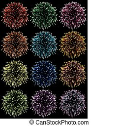 colorful fireworks - vector set of colorful fireworks