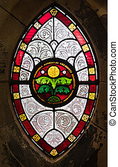 Gothic window from stained glass - Gothis ornamental stained...
