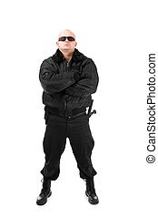 Man in black suit in sun glasses Isolated on white...