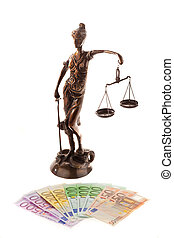 Justice and the euro. - Justice with scales and ?. Cost of...