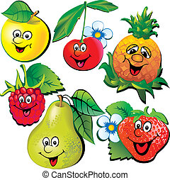 Funny fruits Vector art-illustration on a white background