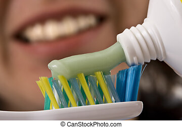 toothbrush and paste - toothbrush and green bio toothpaste,...