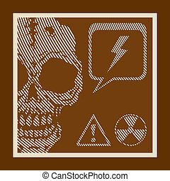 Danger sign with a skull