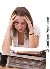 stressed business woman - stressed modern business woman,...