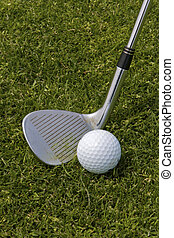 Ready for Wedge Shot - addressing the golf ball with a...