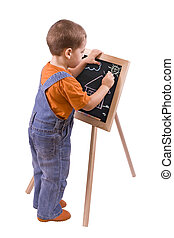 boy drawing on blackboard, isolated in white