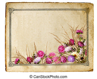 retro floral frame - sheet of old yellowed paper with floral...