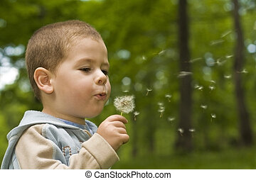 Boy blowing dandelion in nature
