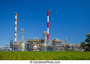 Refinery - Oil-refinery, industrial-plant under blue sky