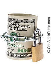 Dollar Currency notes are block off with a lock - Many...