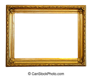 gilded frame - old gilded frame Isolated over white...