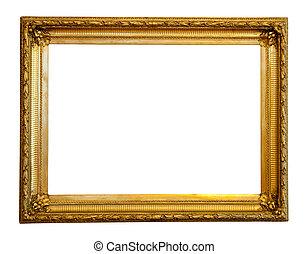 gilded frame - old gilded frame. Isolated over white...