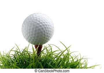 Golfball - Golf ball on green grass, selective focus