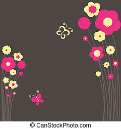 Springtime floral postcard with butterfly