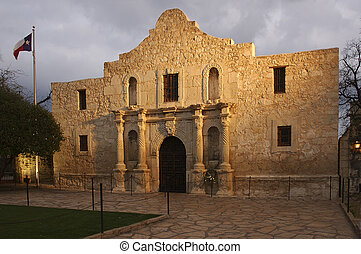 The Alamo Blazing in the Light. - The Alamo spotlighting...