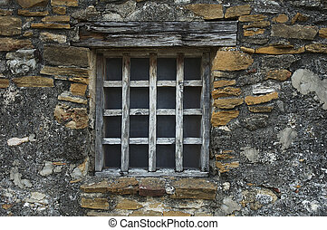 Mission Window - Exterior window of a historical building in...