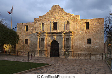 The Alamo at Dusk - The famous Alamo at dusk and glowing in...