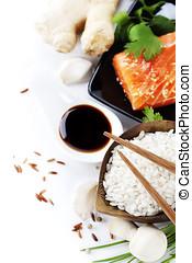 traditional asian ingredients Fresh salmon steak filet,...
