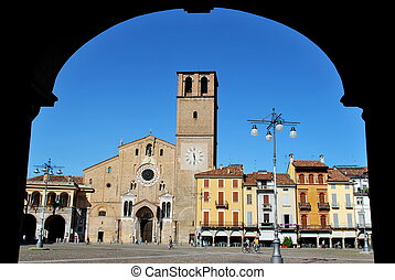 Romanic cathedral in Lodi, Italy - Beautiful view of romanic...