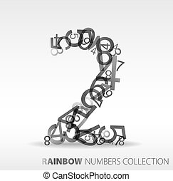 Number two made from various numbers