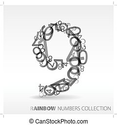 Number nine made from various numbers