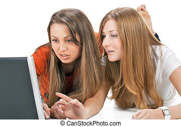 two student girl with laptop - student girl work on laptop...