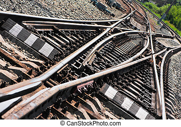 Railroad junction - Close-up of the railway tracks complex...