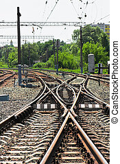 Railway junction - Close-up of the railway tracks complex...