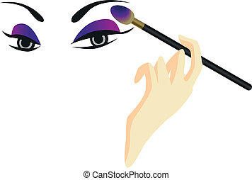 Eyes Sketch with Make Up - Eyes sketch with makeup isolated...