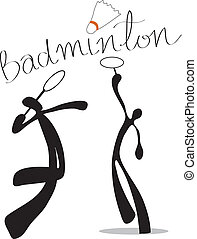 shadow man badminton cartoon design sport symbol.