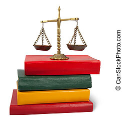 justice concept Scales of justice atop legal books Isolated...