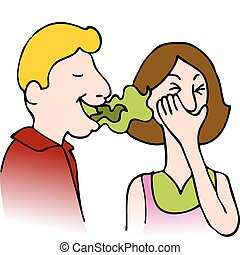 Bad Breath - An image of a man with bad breath talking to a...