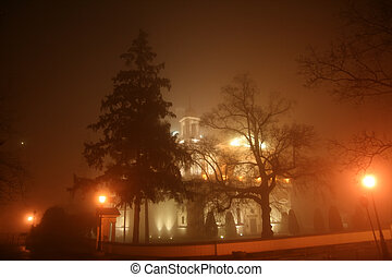 Night scene in Wilanow