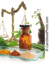 Homeopathy - Pharmacists scale with mortars, Apothecary...