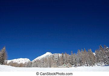 blue sky over snowy mountain