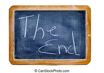 the end - sentence the end written with chalk on a...
