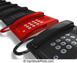 rojo, teléfono, fila, negro, unos