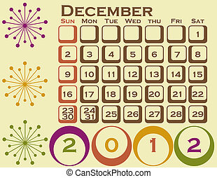 2012 Retro Style Calendar Set 1 December