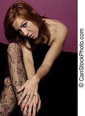 beautiful woman on a fashion style - View of a beautiful...