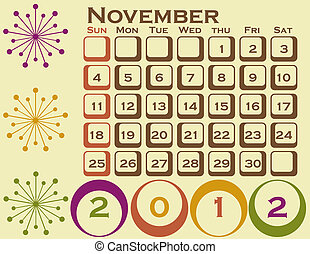 2012 Retro Style Calendar Set 1 November