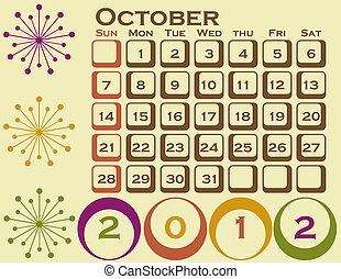 2012 Retro Style Calendar Set 1 October