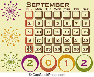 2012 Retro Style Calendar Set 1 September
