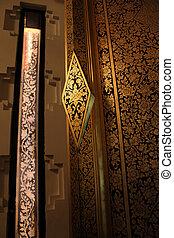puerta, tailandés, madera, arte