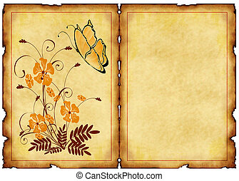 old postcard with floral patterns